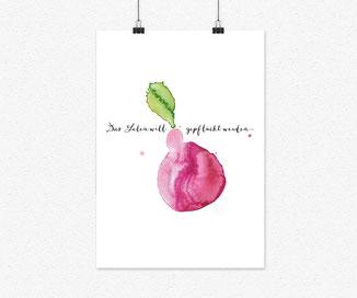 A4 Plakat- Das leben will gepflückt werden, pflaume
