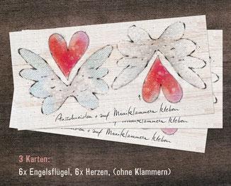 Deko: Engelsflügel und Herzen 3er-Set OHNE Klammern