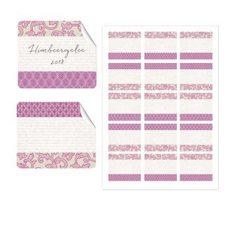 Etiketten japanpapier, rosa, 50x59