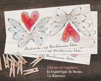 Deko: Engelsflügel und Herzen 3er-Set mit Klammern