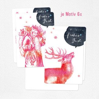 Postkarte frohes fest hirsch weihnachtsmann
