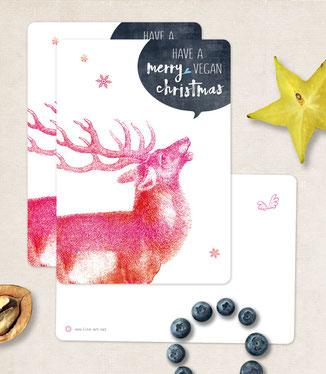 Postkarte frohes fest vegane weihnachten