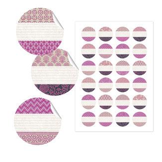 Etiketten Japanpapier 40mm, rosa