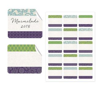 Etiketten japanpapier, grün lila, 50x59