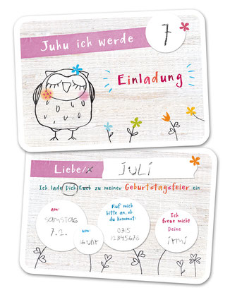 Einladungskarte Kindergeburtstag Eule rosa
