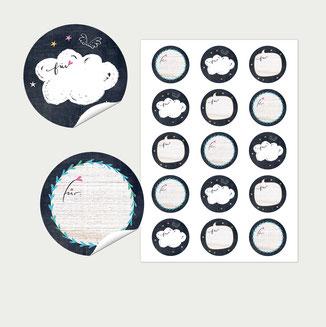 Aufkleber 50 mm nachtwolken