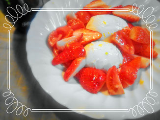 Mozzarella, strawberry and tomato