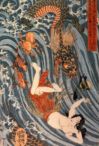 Tamatori-Hime, Perlentaucherin, Japanische Geschichten, Motive Japanische Tattoos, JApantattoo, Irezumi, Japanese Tattoo