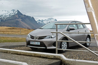 Our hire car, parked outside our accommodation at Hraunhóll 4 Apartment in Höfn, Iceland.