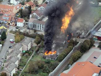 Eine Luftaufnahme zeigt die Gasexplosion in Ludwigshafen im Jahr 2014. Foto: Polizei/Archiv
