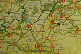 Der Ausschnitt der Fahrradkarte zeigt die Tour