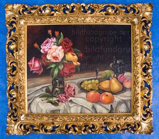 599, Stilleben mit Rosen und Obst / Holz-Gips Goldrahmen