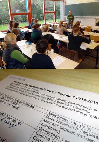 Martin Zeef gab einen Einblick in die Arbeit an seiner Schule, dem Zernike-College. Arbeitspläne - wie das Beispiel aus dem Fach Physik - spielen eine große Rolle an der Schule. Fotos: Ulrichs