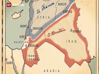 Die «Linie im Sand» verlief entlang von Jerusalem, nördlich an Bagdad und Kirkuk und südlich an Mossul vorbei.