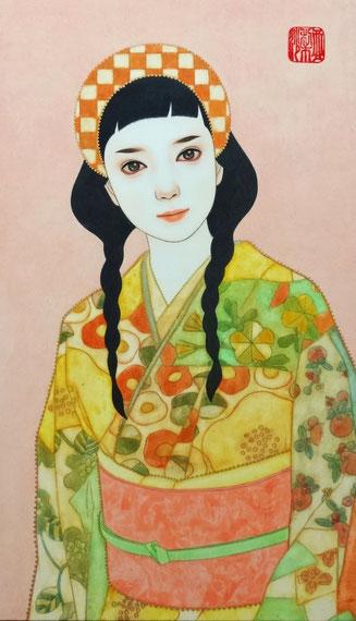 「恋」雲肌麻紙に岩絵具・水干絵具・墨・顔彩 M6