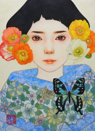 「空色の夢」雲肌麻紙に岩絵具・水干絵具・墨・顔彩 F4