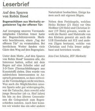 Artikel - Leserbrief zum Tag der offenen Tür 2008 - BSV Merkwitz