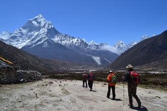 Everest Base Camp Yoga Trek in Nepal, hiking along Khumbu Glacier; Yoga Vaccation in Nepal, Yoga Trekking in Nepal