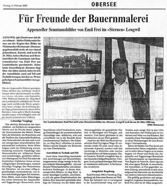 """Volksfreund, 11.2.2000, """"Für Freunde der Bauernmalerei"""""""