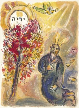 """Marc Chagall, """"Moisés y la zarza ardiente"""", litografía, 1966"""