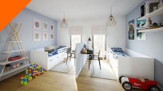 Dormitorio infantil 3D. Render arquitectura. Viviendas en Canet de Mar.