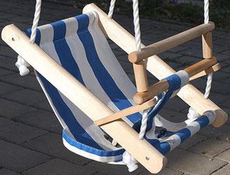Beluga Babyschaukel blau/weiß, Babyschaukel Holz Stoff, Babyschaukel Stoff
