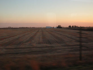 Abgeerntete Felder in Illinois bei Sonnenuntergang
