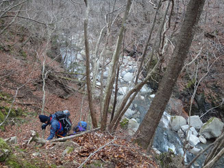 佐目子谷川を真上から見下ろす斜面を下る