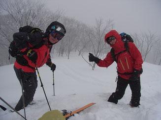 前大日山頂にてO氏とH田さん