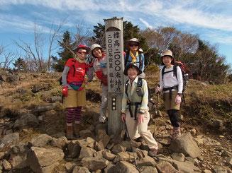 標高2,000m地点の標識で記念撮影