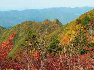 両神山山頂から、紅葉を見渡す