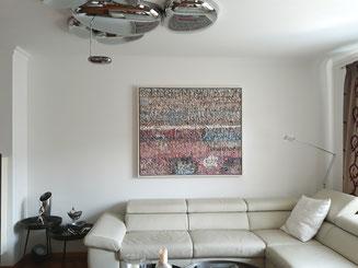 """Eva Hradil, """"Nettworking"""" 2014, Eitempera auf Halbkreidegrund auf Leinwand, 110 x 130 cm"""