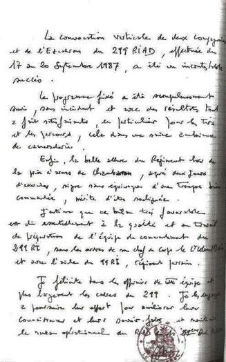 Appréciations relatives au déroulement de la convocation verticale, écrites par le général CHAIX, commandant la 51e DMT,  dans le journal de marche du régiment.
