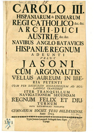 Titelbild der Grußadresse des Hildeheimer Jesuitengymnasiums an Karl III.  (Bild: Stadtarchiv Hildesheim)