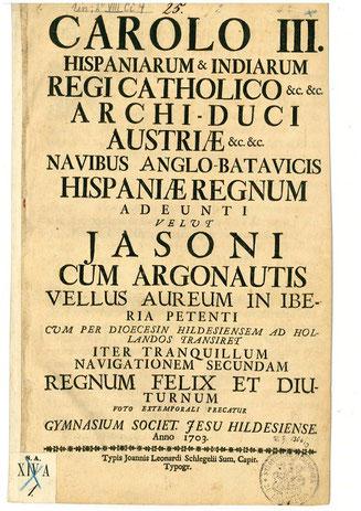 Titelbild der Grußadresse des Hildesheimer Jesuitengymnasiums an Karl III.  (Bild: Stadtarchiv Hildesheim, Signatur 100-67, Nr. 9))