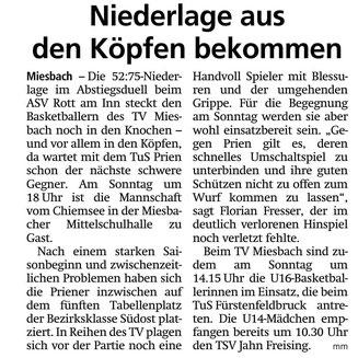 Artikel im Miesbacher Merkur am 16.2.2019 - Zum Vergrößern klicken