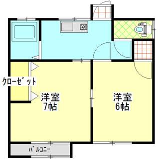 太田町4丁目貸家 2DK(205) 間取り図
