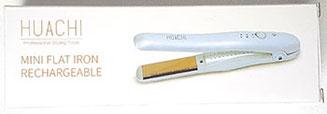 Verpackung Huachi Mini Glätteisen mit Akku