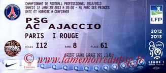 Ticket  PSG-Ajaccio  2012-13
