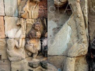 1. Harpe Garuda et détail de son système d'accordage. Terrasse de l'éléphant. XIIIe s.