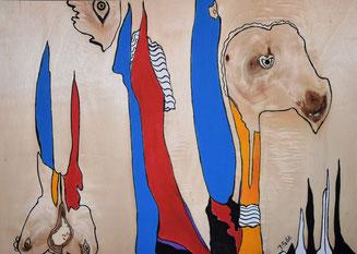 oiseaux n°3 , acrylique et posca sur bois