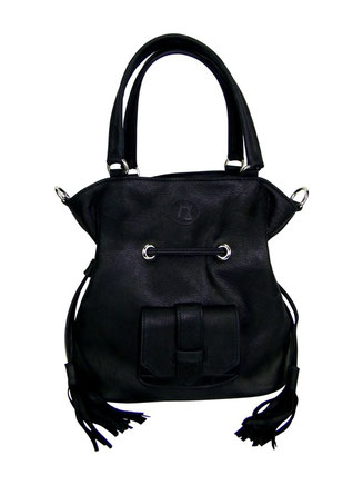 sac seau cuir noir, maroquinerie artisanale, made in france, sac bourse