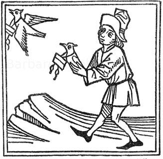 Absenden von Brieftauben. Holzschnitt aus Montevilla, Reise 1488.