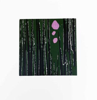 Art, Kunst, Grafik, graphic, print, Druck, original, natur, nature, gras, sterne, mond, holzschnitt, linolschnitt, schwarze kunst, woodcut, linolcut, linolprint, woodprint, schwarz, grün, violett, lila, black, green,