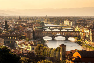 Stone Bridges over River Arno Florence