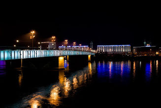 The Danube River in the Night Linz