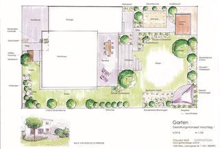 Terrassengestaltung einer Dachterrasse mit Holzdeck, japanischem Ahorn