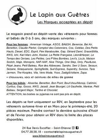 Dépôt-vente de marques St-Etienne - Site de lelapinauxguetres ! d759e421a91