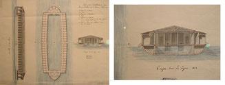 Bateau bains sur la Garonne au XIXe siècle