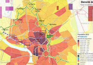1 - Le passage au nord (en vert) se fait au travers de zones de 2 à 5 fois moins peuplées que le passage au centre (en bleu). La station Fondeyre a été abandonnée par Tisséo.